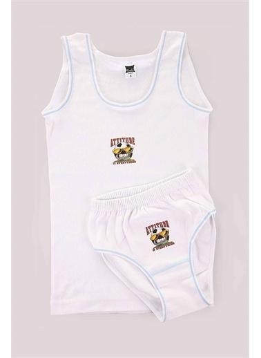 Tutku Kalın Askılı Baskılı Atlet Ve Külot Takımı Erkek Çocuk Iç Giyim 0132 Beyaz